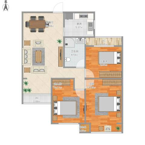 龙湖湘风星城3室1厅1卫1厨101.00㎡户型图