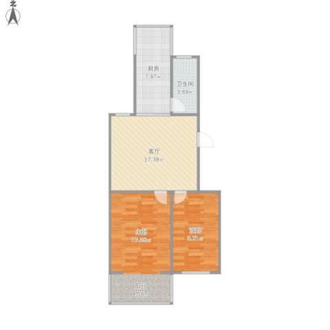 港宁园小区2室1厅1卫1厨76.00㎡户型图
