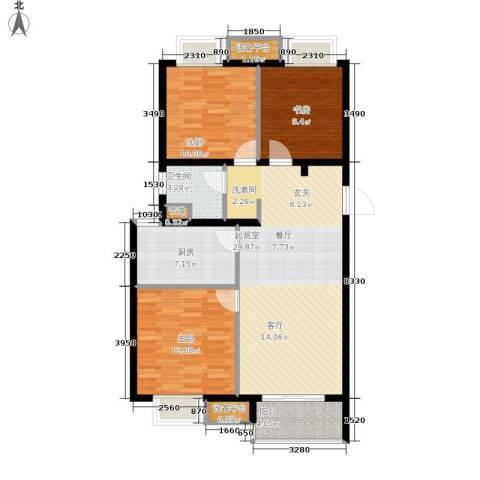 万科城3室0厅1卫1厨91.00㎡户型图