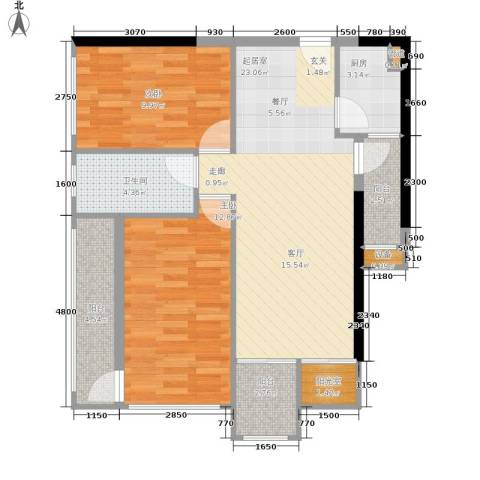 灿邦国际广场2室0厅1卫1厨67.00㎡户型图
