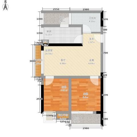 学林佳苑2室0厅1卫1厨73.00㎡户型图