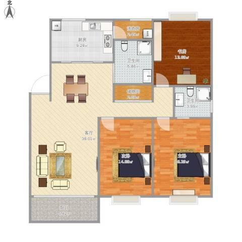 天宝坊3室1厅2卫1厨151.00㎡户型图