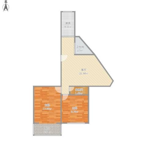 匡庐花园2室1厅1卫1厨77.00㎡户型图
