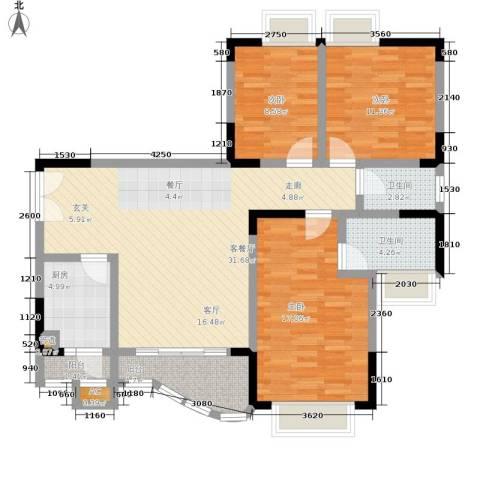 建工MORNING公馆3室1厅2卫1厨128.00㎡户型图