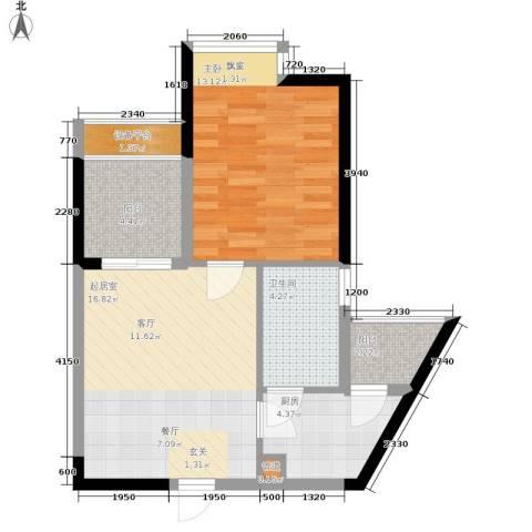 枫桥水郡1室0厅1卫1厨67.00㎡户型图