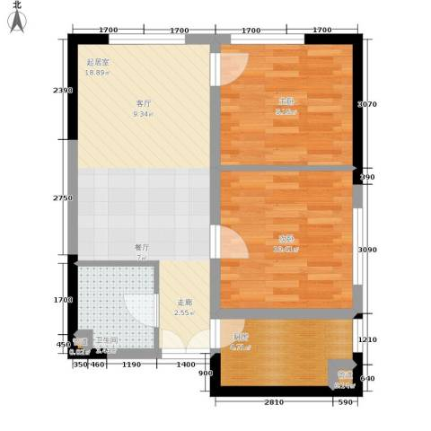 祈年悦城2室0厅1卫1厨54.00㎡户型图