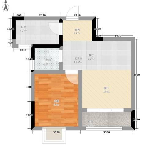 乔鹤西苑1室0厅1卫1厨48.00㎡户型图
