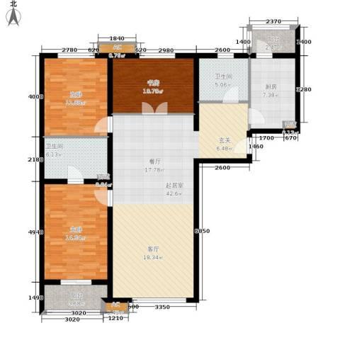 百子湾家园3室0厅2卫1厨135.00㎡户型图