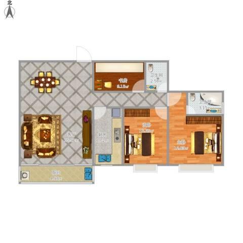 宝华花园3室1厅2卫1厨112.00㎡户型图