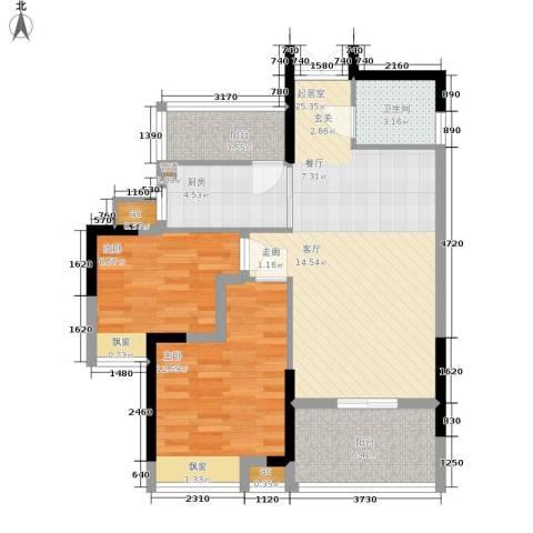 春风城市心筑2室0厅1卫1厨73.00㎡户型图