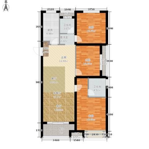 朝阳首府3室1厅2卫1厨116.00㎡户型图