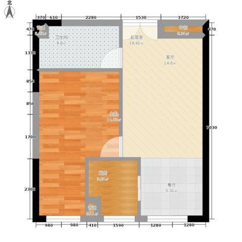 祈年悦城1室0厅1卫1厨47.00㎡户型图