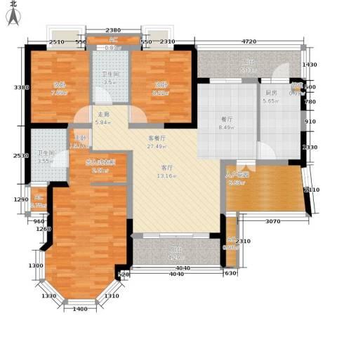 龙城静园3室1厅2卫1厨108.00㎡户型图