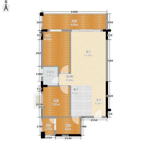 白马康居花园2室1厅1卫1厨78.00㎡户型图