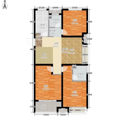 朝阳首府3室1厅2卫1厨115.00㎡户型图