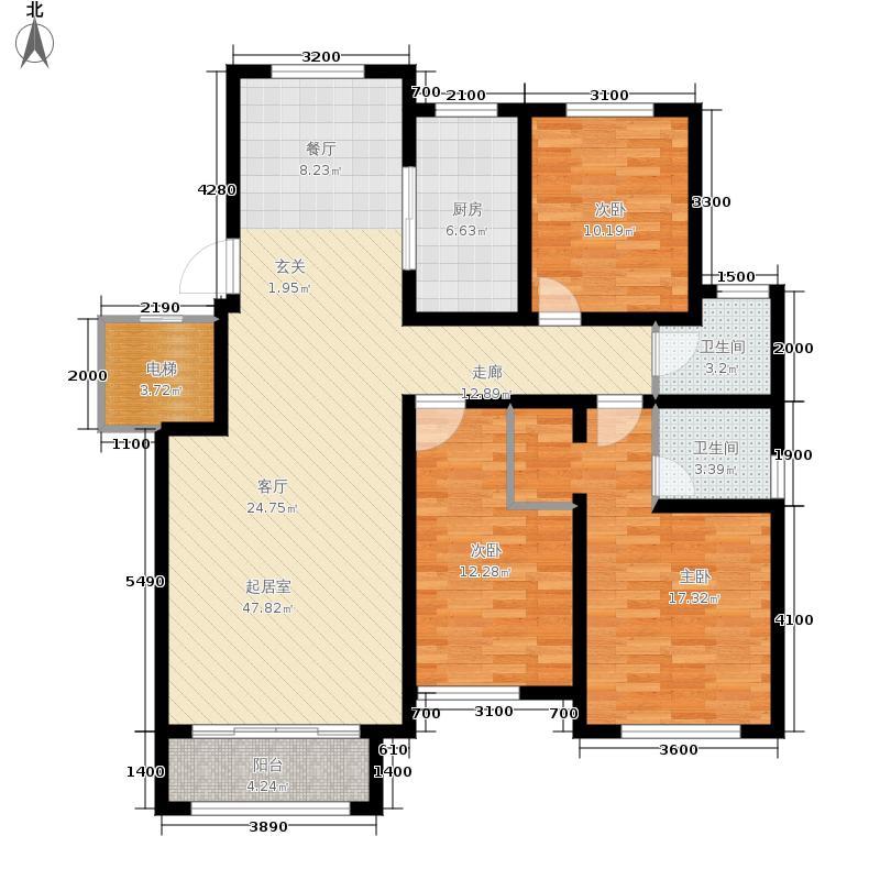 紫睿天和138.39㎡5#7#标准层C户型3室2厅