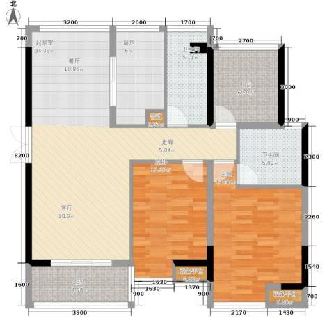 裕龙君汇2室0厅2卫1厨112.00㎡户型图