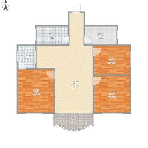 青石村3室1厅2卫1厨119.00㎡户型图