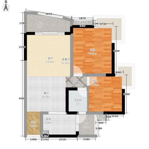 华宇西城丽景2室1厅1卫1厨72.00㎡户型图