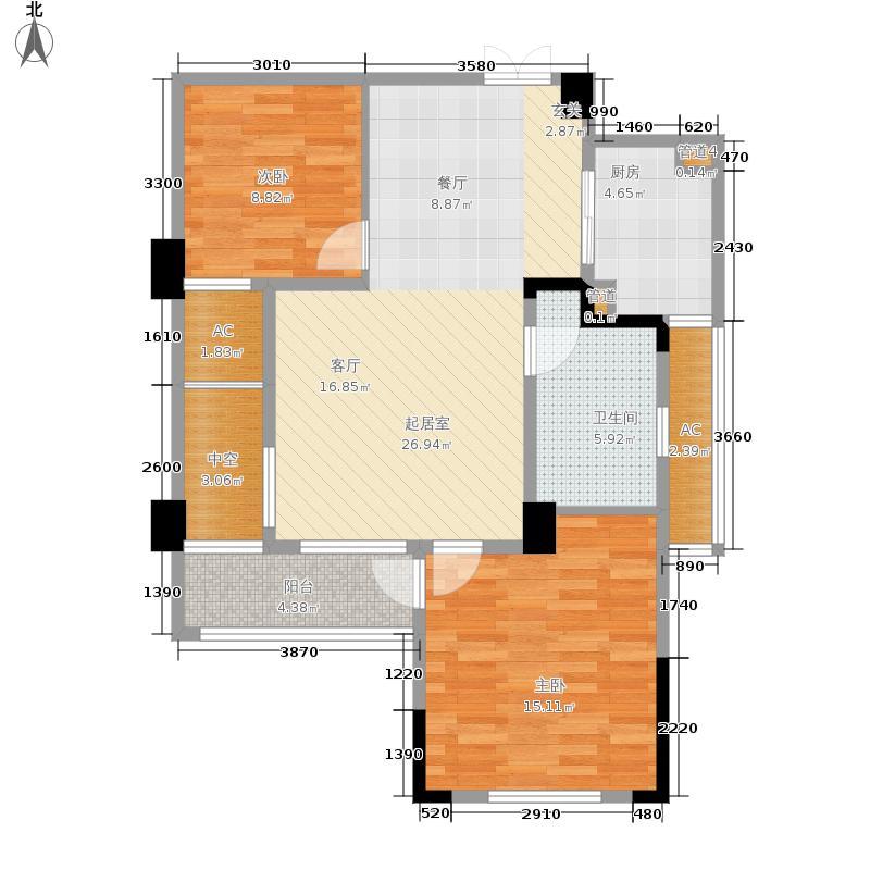 翡翠城91.00㎡竹苑7#C(已售完)户型2室2厅