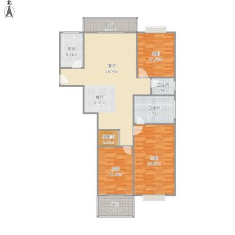 西关头小区3室1厅2卫1厨146.00㎡户型图