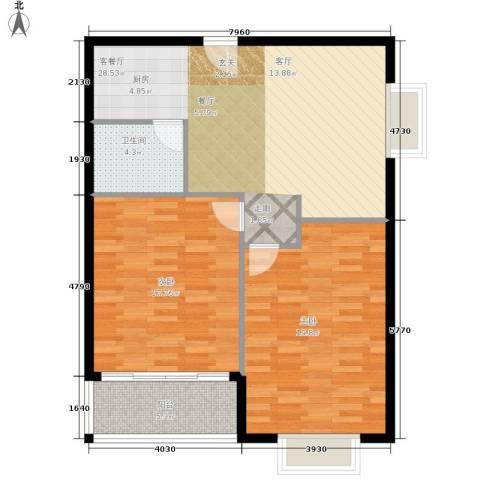 华宇西城丽景2室1厅1卫0厨86.00㎡户型图