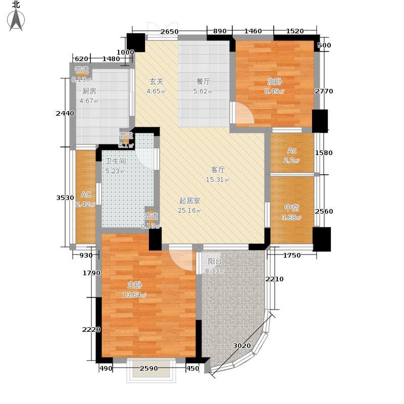 翡翠城88.00㎡竹苑7#B-(已售完)户型2室2厅
