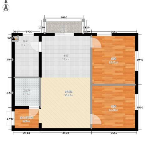 鸿盛凯旋门2室0厅1卫1厨76.00㎡户型图