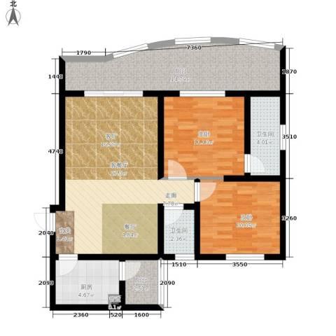 金福花园2室1厅2卫1厨89.00㎡户型图