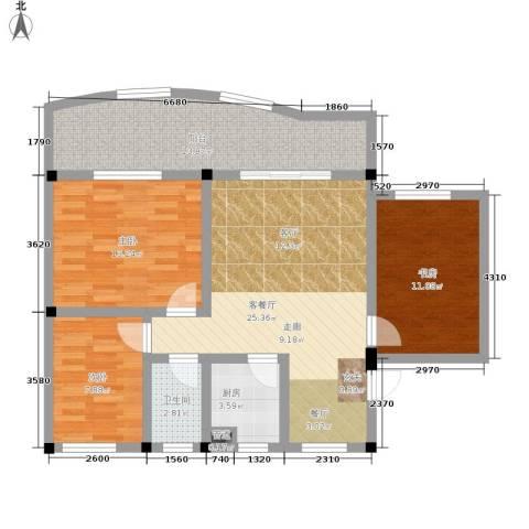 金福花园3室1厅1卫1厨91.00㎡户型图