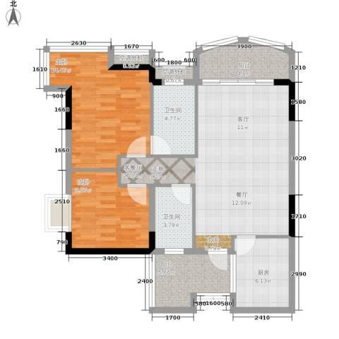 长安麒麟公馆2室1厅2卫1厨78.00㎡户型图