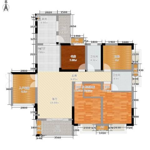 保利高尔夫华庭4室0厅2卫1厨118.00㎡户型图