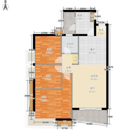 八里街1号公馆3室0厅1卫1厨99.00㎡户型图