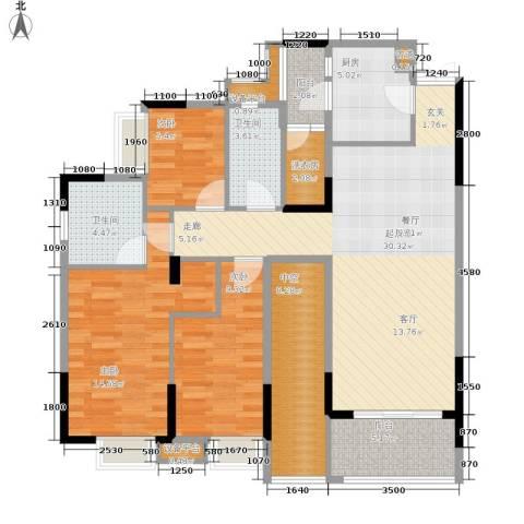 御景天成3室0厅2卫1厨104.00㎡户型图