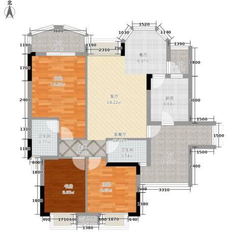 长安麒麟公馆3室1厅2卫1厨98.00㎡户型图