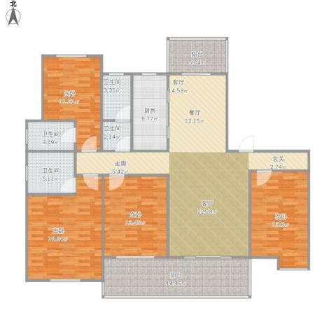 瑞景国际4室1厅4卫1厨188.00㎡户型图