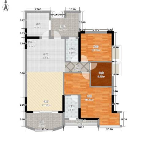 长安麒麟公馆3室1厅2卫1厨105.00㎡户型图