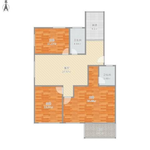 天悦花园3室1厅2卫1厨129.00㎡户型图