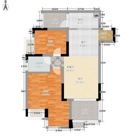 巴国公馆2室1厅1卫1厨106.00㎡户型图
