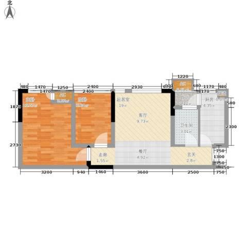北城国际中心2室0厅1卫1厨50.00㎡户型图