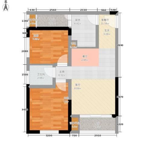 学林佳苑2室1厅1卫1厨58.00㎡户型图