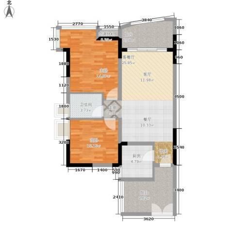 长安麒麟公馆2室1厅1卫1厨74.66㎡户型图