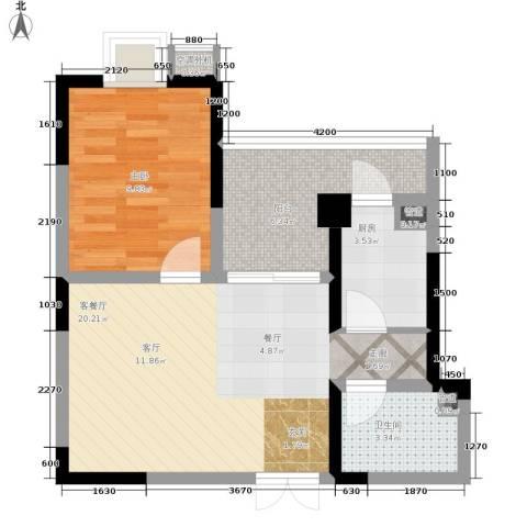 巴国公馆1室1厅1卫1厨65.00㎡户型图