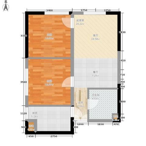 祈年悦城2室0厅1卫1厨64.00㎡户型图