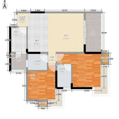 御景天成2室0厅2卫1厨77.00㎡户型图