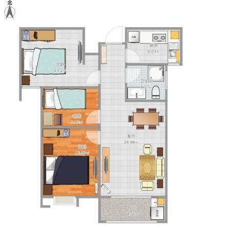 冠景凯旋门3室1厅1卫1厨99.00㎡户型图