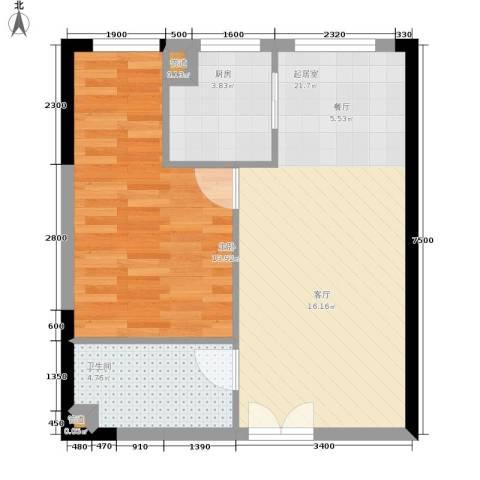 祈年悦城1室0厅1卫1厨53.00㎡户型图