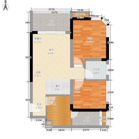 学林佳苑2室1厅1卫1厨60.00㎡户型图