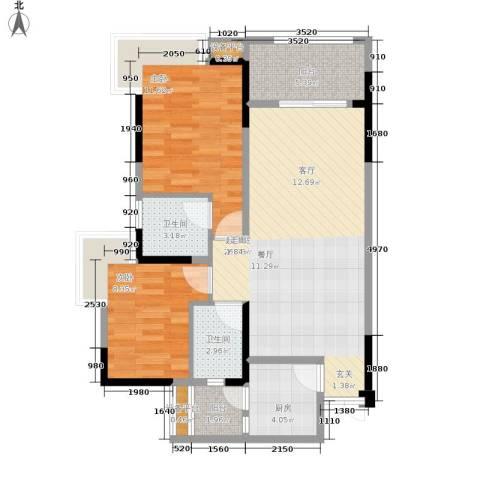 御景天成2室0厅2卫1厨75.00㎡户型图