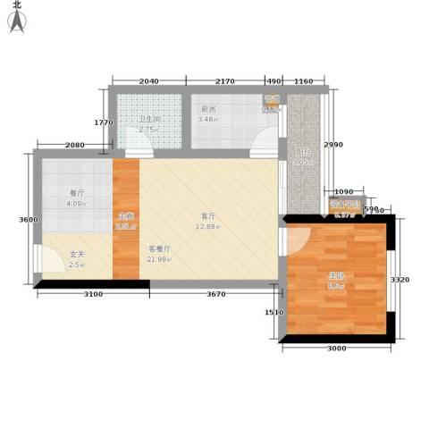学林佳苑1室1厅1卫1厨45.00㎡户型图